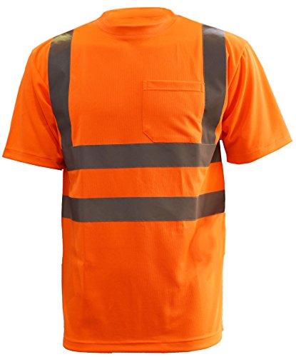 Mens Hi Visibility - L&M Hi Vis T Shirt ANSI Class 3 Reflective Safety Lime Orange Short Sleeve HIGH Visibility (2XL, Orange)