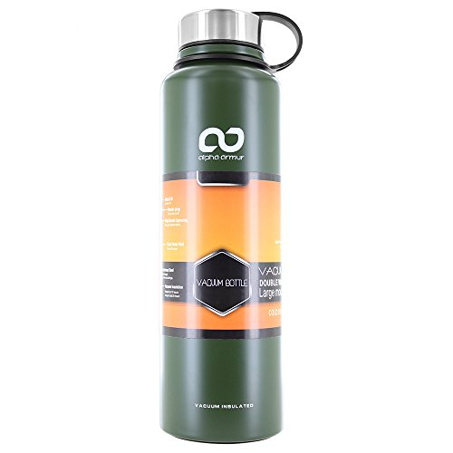 Alpha Armur 50 Oz (1.5L) Double Wall Vacuum Insulated Stainless Steel Water Bottle with Wide Mouth, Green