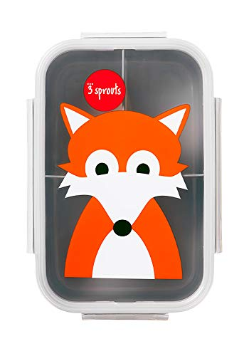 3 Sprouts Lunch Bento Box Leakproof 3 Compartment Lunchbox Container for Kids, Orange, Fox