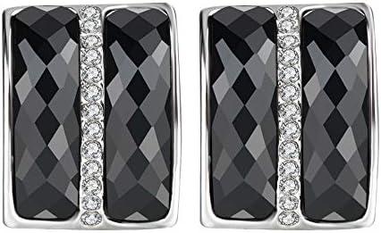 Clásico negro grande Stud pendientes plata color doble piedra principal cristal aretes para las mujeres joyería vintage