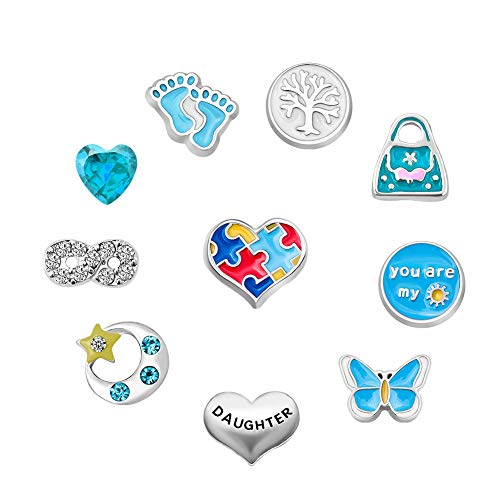 Q&Locket Mom Grandma Family Tree Floating Charms For Glass Living Memory Lockets Necklace &Bracelet (Style4) ()