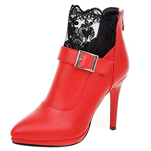 with Lace Zipper AIYOUMEI Red Pointed Buckle Toe Women's and Ankle Autumn Boots Stilettos Winter Booties PxZRvtxq