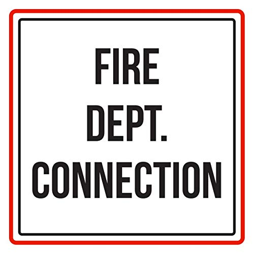 Houseuse Fire Dept. Connection Red, Black and White Business Commercial Safety Warning Square Metal Sign - 12x12 Inches