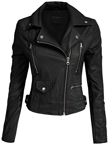 NE PEOPLE Women's Fitted Mixed Media Faux Leather Zip up Moto Jacket Hoodie by NE PEOPLE
