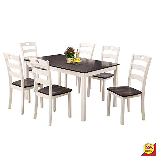 MOOSENG, 7 PCs Dining Set, Wood Elegant Table and Six High-Back Chairs, Perfect for Kitchen, Breakfast Nook, Living Room Occasions, Mix-White