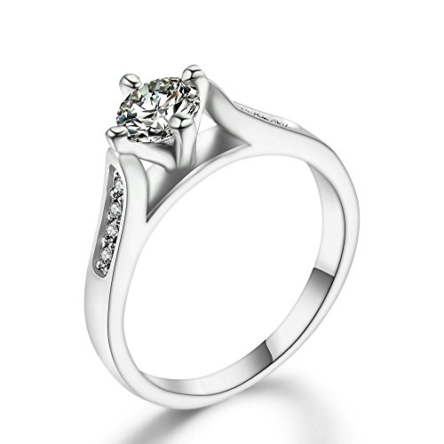 - Double Fair 0.5 Carat Round Cut Cubic Zircon Wedding/Engagement Rings 18K Platinum Plated Size5.5/6/6.5/7.25/8/9 (Silver, 5.5)
