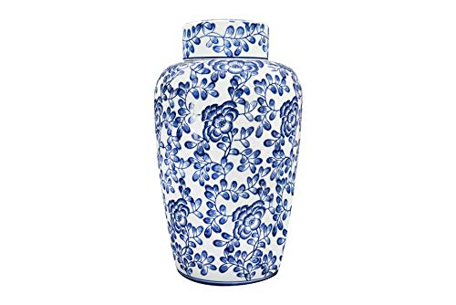 - Creative Co-op White & Blue Floral Decorative Stoneware Lid Ginger Jar, Blue
