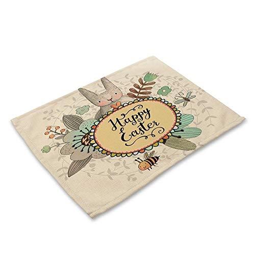 - MARKET 24 - Children Placemat - Cotton-Linen Cute Rabbit Letter Table Placemat for Children and Table Accessory - Vintage Color - 42x32cm - Optional Amount of Pieces (4, 4Pieces)