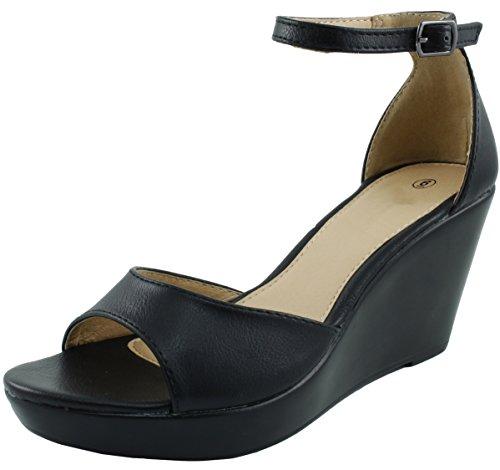 Cambridge Select Women's Open Toe Ankle Strappy Platform Wedge Sandal (9 B(M) US, Black) ()