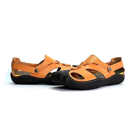uomo Dimensione antiscivolo vera Orange con da chiusa Sandali sandali EU scarpe BINODA Color in Nero 40 Sandali spiaggia senza punta pelle da morbidi wHnq8zf