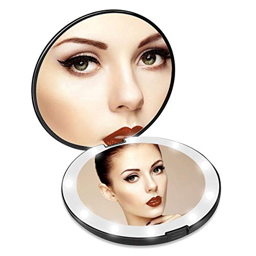 AIXPI Lighted Travel Makeup Mirror, 1x/10x Magnifying Mirror, Handheld Folding Compact Mirror with LED Lights for…