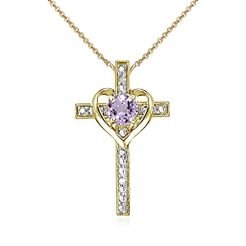 Yellow Gold Flashed Sterling Silver Amethyst Cross Heart Pendant Necklace for Girls, Teens or Women (Yellow Necklace Gold Amethyst)