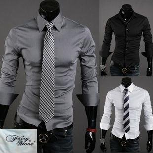 (SQM) ドレスシャツ メンズ 長袖 スリム フィット LEON系 オリジナルハンドタオルセット S