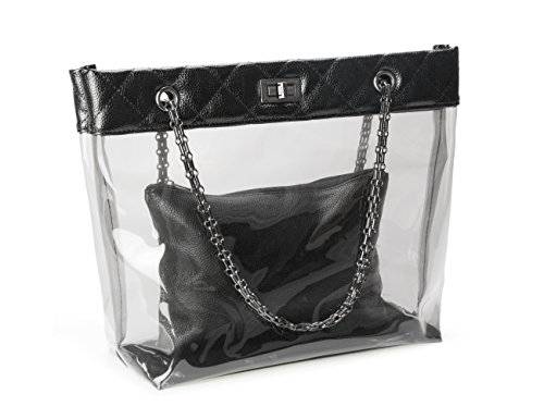Candy Color Quilted Chain Strap Clear Handbags Transparent Tote Purses for Women by MICOM