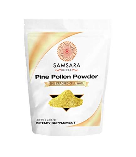 Samsara Herbs Pine Pollen Powder Wild Harvested - 99% Cracked Cell Wall (2oz/57g) (Best Pine Pollen Powder)