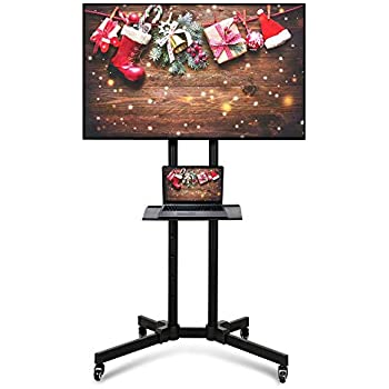 Yaheetech Mobile TV Cart Height Adjustable TV Stand with Mount on Wheels for LCD LED Plasma Flat Screens fits 32