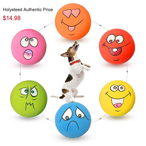 HOLYSTEED Latex Dog Squeaky Toys Rubber Soft Dog Toys Chewing Squeaky Toy Fetch Play Balls Toy for Puppy Small Medium Pets Dog cat 6PCS/Set (Round Dog Toys)