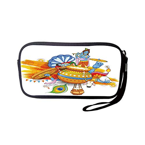 tlet Wallet Bag,Coin Pouch,Ethnic,Ancient Festive Holiday Composition with Figures Peacock Feather and Cultural Symbol,Multicolor,for Women and Kids ()