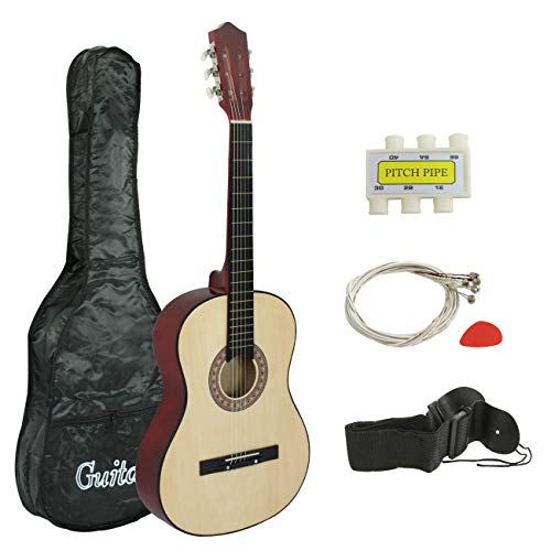 Smartxchoices 38″ Kids Natural Acoustic Guitar Bundle Kit for Starter Beginner Music Lovers, 6-String Folk Guitar with Gig Bag, Extra Set Steel Strings, Strap, Pitch Pipe and Pick, Holiday Gift …