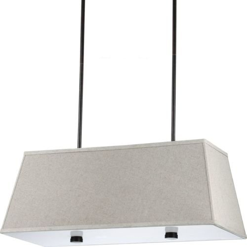 Sea Gull Lighting 65266-710 Dayna Shade Pendants Four-Light Pendant with White Acrylic Diffuser and Linen Fabric Shade, Burnt Sienna Finish - 58' Pendant