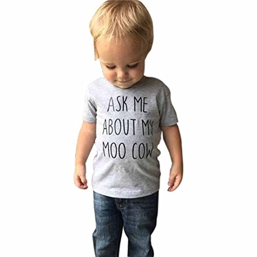 Moo Little Cow (®GBSELL Little Girls Boys Summer Clothes Cow Inside Letter Soft Tops Cute T-Shirt (Light Gray, 3T))