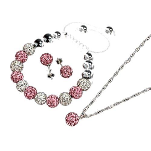 Sunward New Beauty 10mm Crystal Ball Jewelry Bracelet Earrings Necklace Set (Pink)
