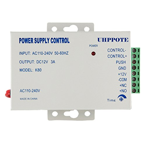 UHPPOTE Power Supply 110-240VAC to 12VDC for Door Access Control System & Intercom Camera (Relay Control Lock)