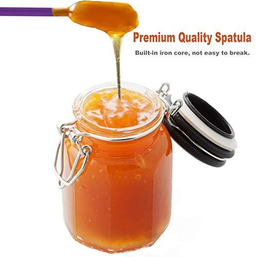 8 Pieces Mini Silicone Spatula-Makeup Spatula-Small Silicone Spatula-Thin Spatula Set for Skinny Openings-EVEREST GOOSE Tiny Scraper for Jar,Kitchen Bottles,Cosmetic(Purple)