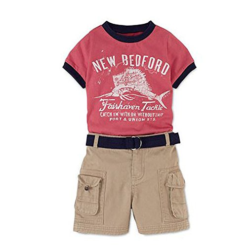 Ralph Lauren Polo Boys New Bedford Tee Shirt & Cargo Shorts Belt Set (3 Months)