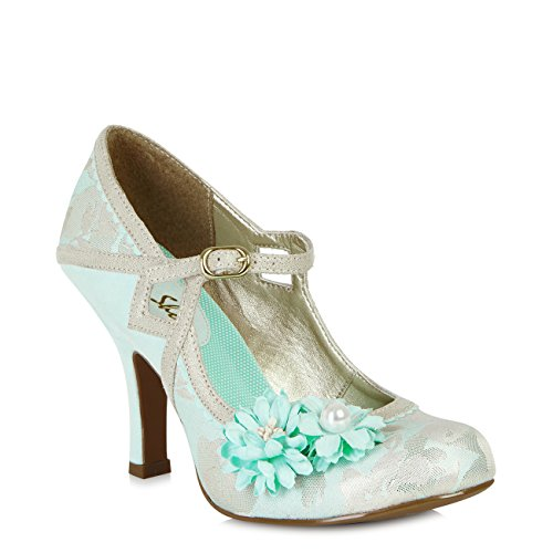 Ruby Shoo Women's Aqua Blue Yasmin Mary Jane Pumps UK 9 EU (Blue Suede Shoes Bar)