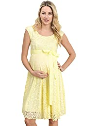 Maternity Floral Lace Baby Shower Party Cocktail Dress With Ribbon Waist