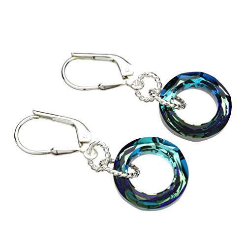 Sterling Silver Leverback Earrings Round Ring Donut Made with Swarovski Crystals