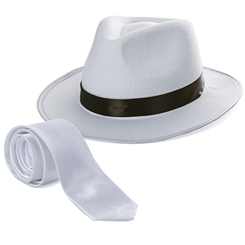 Tigerdoe Fedora Gangster Hat - Mobster Costume - Felt Hat & White Neck Tie - (2 Pc Set) White Fedora Hat