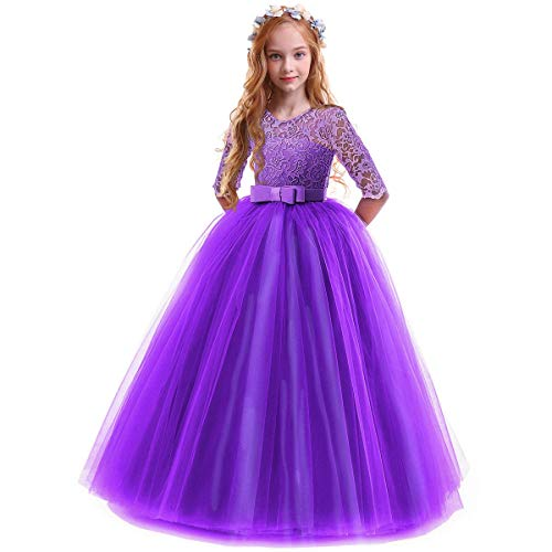 IBTOM CASTLE Spring Flower Girl Wedding Bridesmaid 3/4 Sleeves Kids Floral Lace Pageant Communion Princess Dress Prom Evening Dance Gown Eggplant Purple 11-12 Years from IBTOM CASTLE