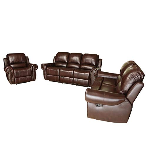 Abbyson Hogan Top Grain Leather Reclining Sofa Loveseat and Recliner -