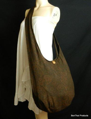 Hippie Sling Messenger Paisley Brown Bag Hobo BTP Print Purse Thai Large Pl13 Cotton Crossbody TqEqpwR