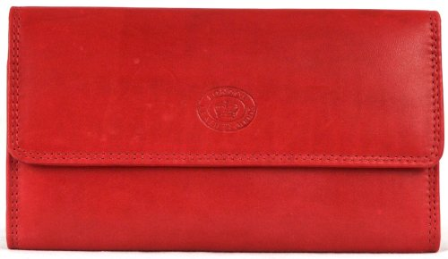 Ladies Soft Nappa Large Matinee Leather Wallet with Back and Inner Zip (Red) ()