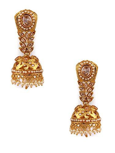 Rubans Gold Plated Contemporary Indian Bollywood Ethnic Wedding Bridal Rhinestone with Pearls Hancrafted Jhumka Earrings for ()