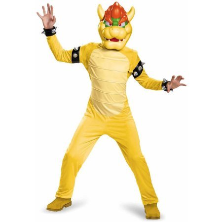 Super Mario Bros Kids Deluxe Bowser Costumes - Super Mario Bros Bowser Deluxe Child Halloween Costume (Size : Small (4-6))