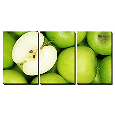 3 Piece Canvas Wall Art - Group of Green Apples Forming a Background - Modern Home Art Stretched and Framed Ready to Hang - 16