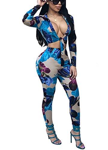 Romacci Women Sheer Mesh Bodysuit Rhinestone Front Round Neck Long Sleeve Playsuit (Women Round Neck Rhinestone)