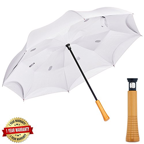 Pine-Brella Windproof Inverted Umbrella with Wood Handle, Double Layer Canopy UPF 50 UV Protection