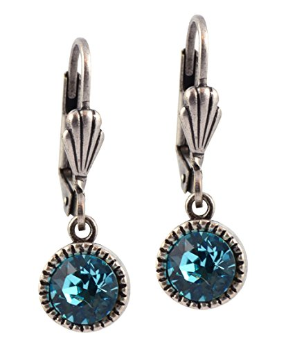 Anne Koplik Circle Earrings, Silver Plated with Blue Crystal ES03LTU