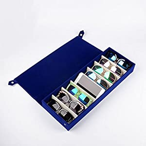 SeaMoon 8 Grids Deer Leather Eyeglass Sunglass Boxes Eyewear Storage Organizer Eyewear Jewelry Display Case