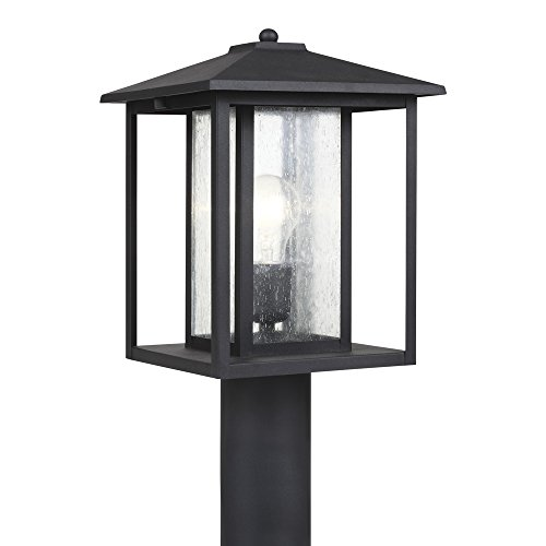 - Sea Gull Lighting 82027-12 Hunnington One-Light Outdoor Post Lantern with Clear Seeded Glass Panels, Black Finish
