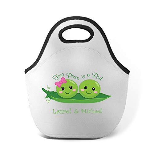Personalized Custom Text Inspiration Two Peas in a Pod Neoprene Lunch Bag
