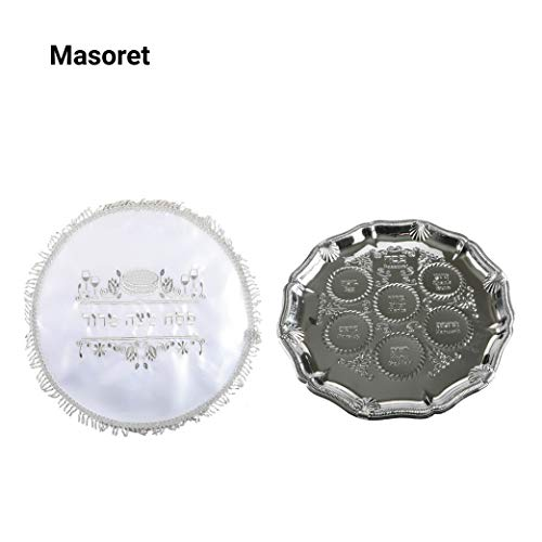 JUDAICA SPIRIT SEDER PASSOVER PLATE: 13.8-Inch Ornamental Metal Platter with Hebrew and English Indentations for Jewish Holidays with Embroidered Cover (Metal Seder Plate)