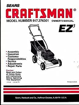 sears craftsman ez3 walk behind mower model 917 376301 owners parts rh amazon com sears garden tractor parts manual sears garden tractor parts manual