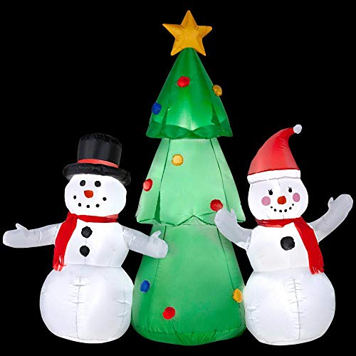 Home Accents Holiday 5.51 ft. W Pre-lit Inflatable Snowman Family Topping The Tree Ariblown Scene