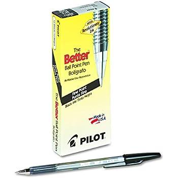 Pilot 35011 Better Ball Point Stick Pen, Black Ink, .7mm (Pack of 12)